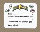 Power Ranger Fill in the Blank Thank You Notes - Great for Children's Birthday Parties