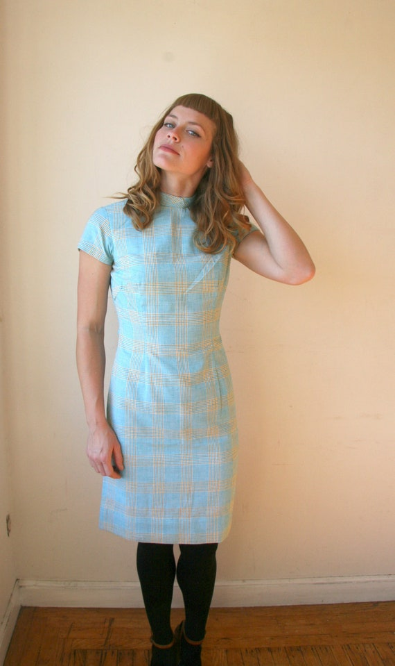 SALE 50s Plaid Wiggle Dress Sz XS