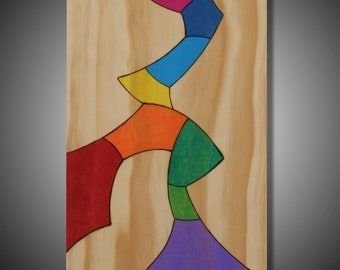 "Slow Migration: Original Abstract Art on Pine - Pyrography - Prismacolor Pencil - Multicolor - 7.25"" x 10.75"""
