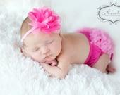 Baby Bloomer and Headband Set-Chiffon Ruffle Bum Baby Bloomer Diaper Cover Baby Girl  Headband Set  Photo Prop Ready to ship My2lilpixies