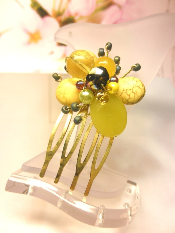 Juicy Yellow Green Jasper Turquoise Crystal Beads Tiny Antique Bronze HAIR COMB