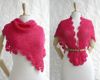 Handmade Fuchsia Triangle  Midi Shawl scarf collar Capelet Cowl