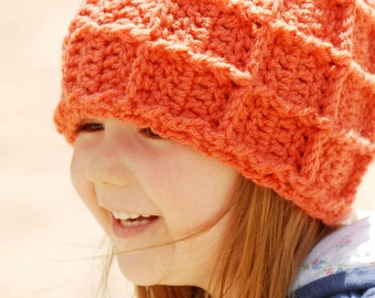 Big Waffle Ski Beanie - Kids Crochet Hat