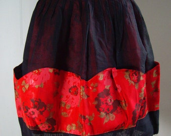 Vintage Hostess Half Apron, Red and Black with Carnations, Reversible