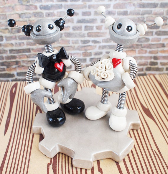 Robot Wedding Cake Topper READY TO SHIP Round Bots Classic