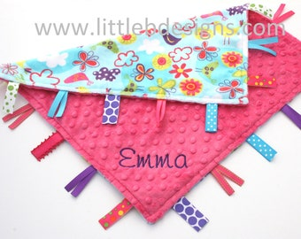 Personalized Lovey Baby Tag Blanket - Hot Pink Minky with Aqua Birds and Flowers