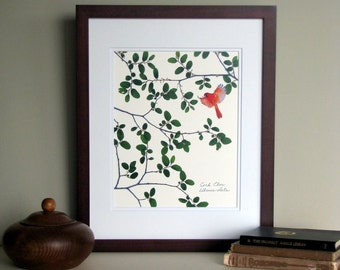 Pressed leaves print, Cork Elm leaves, Cardinal, Elm tree, bird, branch, 11x14 double matted, wall decor no. 0078