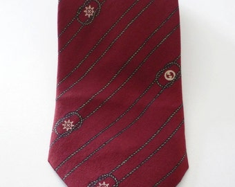 Vintage Neckties Men's 80's Gucci, Silk, Burgundy, Printed, Neckwear