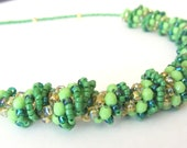 Dutch Spiral Green Necklace, Seed beads necklace, Seed beads jewelry, Beaded Jewelry