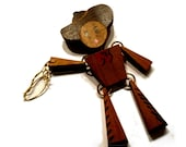 I'm an Old Cow Hand. Vintage Jointed Wooden Cowboy Brooch Pin. 1940s - decotini