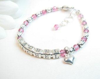Baby Name Bracelet // Baby Girl Bracelet // Girl's Name Bracelet // Name Bracelet // Silver Name Bracelet // Baby Bracelet // Baptism Gift