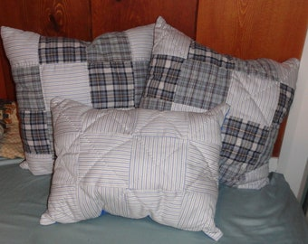 Quilted Memory Pillows, made from men's shirts