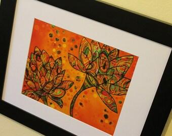 8x10 Tangerine Lotus high quality print of original art