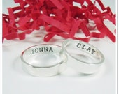 Personalized His and Her Promise Rings - Matching Promise Rings - Custom Sterling Silver Wedding Bands - Hand Stamped His and Hers Ring Set