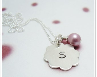 Personalized Intial Necklace - Hand Stamped Sterling Initial Necklace - Flower Tag with Swarovski Pearl - Flower Girl