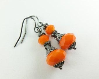 Orange Halloween Earrings Victorian Dangle Earrings Halloween Jewelry Orange Earrings Beaded Earrings Dark Silver Gunmetal