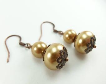 Copper Pearl Earrings Gold Dangle Earrings Pearl Drop Earrings Rustic Antiqued Copper Jewelry
