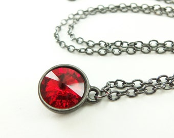 Scarlet Red Necklace Jewelry Dark Gothic Blood Red Necklace
