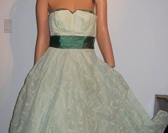 1950's Bombshell Evening Dress. Vintage, Flocked Mint green Chiffon.  Rockabilly, Bombshell, Pinup, BOHO, Mad Men  swing full skirt.