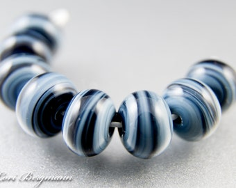 Midnight Blue Lampwork Glass Spacer Beads, Slate Gray, SRA Handmade Jewelry Supplies