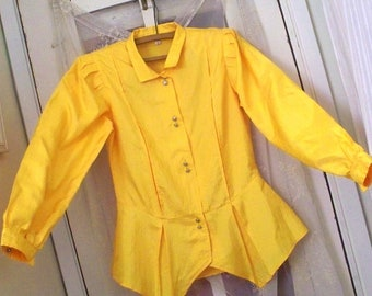 1980s electric yellow peplum power blouse