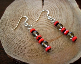 Coral and Quartz Drop Earrings