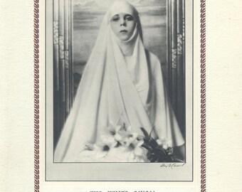 White Nun, New Vintage Art Deco, Monochrome Portrait in Photogravure by Hugh Cecil, 1926, Book of Beauty