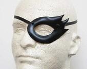 Black Leather Mask - Handmade Mini Eye Patch Style Half Mask