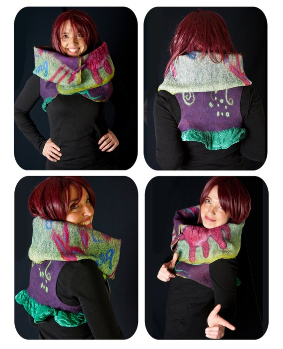 Fairy masterpiece nuno felt vest,  high fashion bolero, convertible shrug veste bolero,  pink cat , green,  purple,  stripes , ooak S to M
