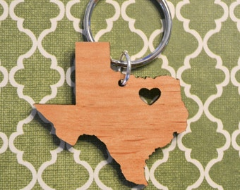 Dallas, Texas Love Wood Key Ring