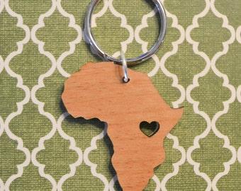 Uganda/Rwanda Love Wood Key Ring