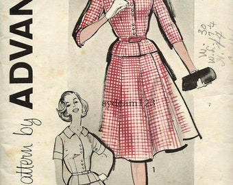 Vintage 1960 Button Front Dress Pattern Six Gored Full Skirt Bishop Method 1960s Advance 9535 Bust 36