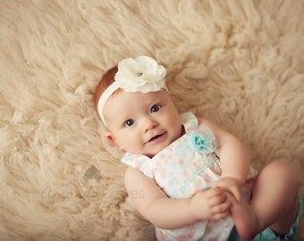 White Flower Headband, White Layered Flower w/ Rhinestones Headband or Hair Clip, The Mia, Baptism, Christening, Baby Child Girls Headband