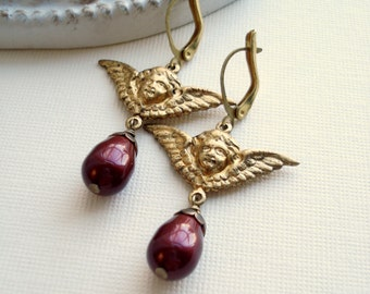 Wine Red Drop Earrings Vintage Angel Drop Earrings In Raw Brass Cupid Earrings Bordeaux Swarovski Pearl, Gift For Her Under 25