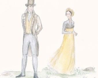 Meeting at Pemberley. Two art prints. 5x7. Jane Austen. Pride and Prejudice.