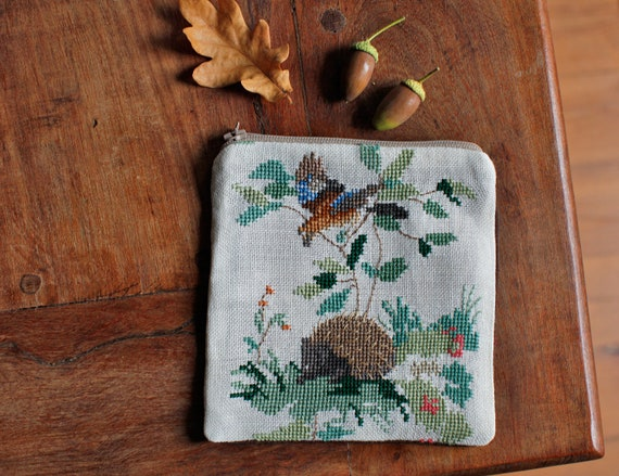 Hedgehog pouch from vintage embroidered linen