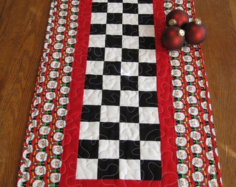 SALE   Patchwork Santa's Quilted Table Runner
