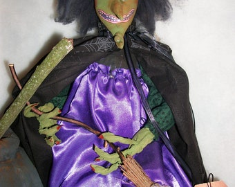 pattern,Primitive Halloween Witch doll  23 inches long. Miss Razzleberry, by Dumplinragamuffin,HAFAIR, OFG