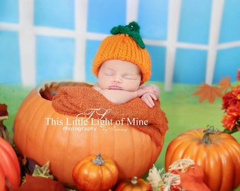 Pumpkin Hat - Baby Halloweeen Costume Hat - Newborn Halloween Costume - Baby Costume - Halloween Costume - Baby Halloween pumpkin hat