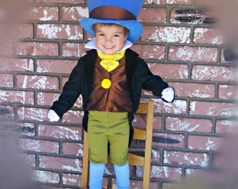 Jiminy Cricket Costume from Pinocchio with Wellington Style Top Hat and green breeches and tuxedo coat