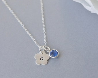 Birthstone Initial Necklace, Sterling Silver Necklace,Personalized Birthstone Necklace,Hand Stamped Jewelry, Initial with Birthstone Jewelry
