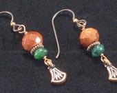 Goldstone and Jade Copper Earrings