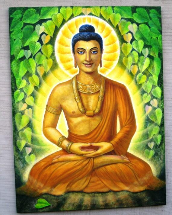 Buddha Painting Siddhartha Gautama Meditation art ORIGINAL 30x40 from Doreen Virtue Cards