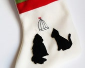 SALE- Cat Stocking With Cats Under Bird Cage And Feathers Stocking