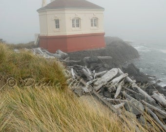 Foggy Coquille River Lighthouse Photograph - Rustic Beach Decor - Rustic Beach House Wall Art - Foggy Lighthouse Photos - Foggy Beach Decor