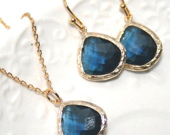 Sapphire Blue Drop and Gold Jewelry Set, Sapphire glass Drops bezel set  Bridal Necklace and Earrings - Gold plated -September
