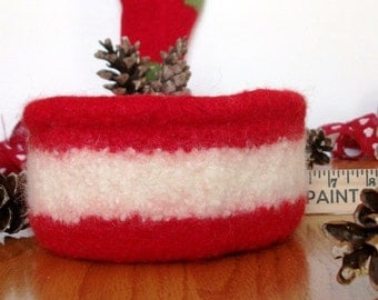 Felted Wool Crocheted Red White Bowl basket
