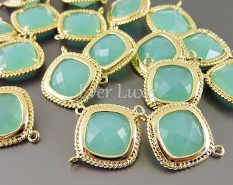 2 Diamond shape rope framed connectors, faceted mint green glass for making jewelry, colorful beads 5089G-MI (bright gold, mint, 2 pieces)