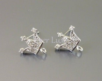 2 Fancy CZ Cubic Zirconia tiara earrings, crystal earrings, earring components for jewelry making supplies 1716-BR