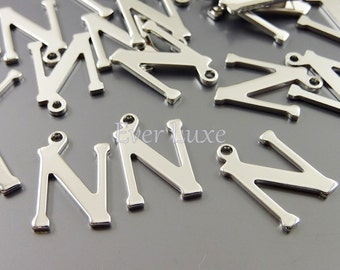 4 alphabet letter N silver over brass base metal  | personalized inital charms 1907-BR-N